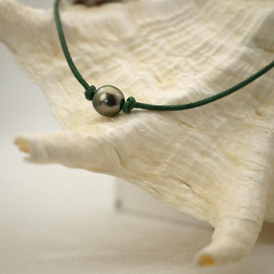 collier surfer en cuir r glable avec une perle de culture de tahiti t239. Black Bedroom Furniture Sets. Home Design Ideas