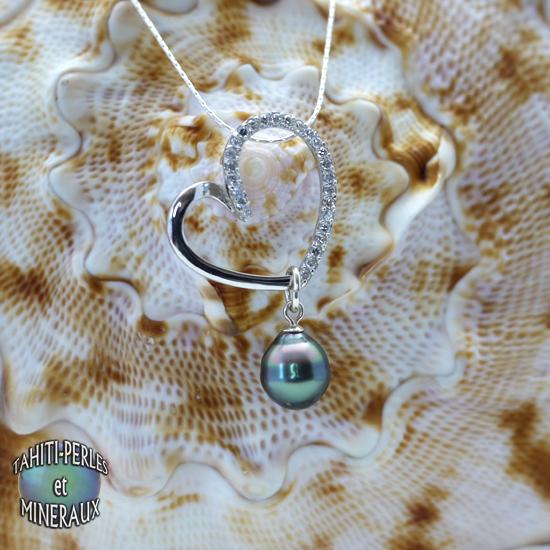 Pendentif Avec Chaine Et Perle De Culture De Tahiti Argent Zirconium